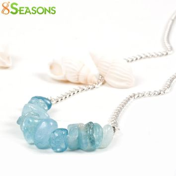 "8SEASONS ""Summer Marine""Fashion Necklace silver-color Blue  chain Beads 35cm(13 6/8"") long,1 Piece handmade"