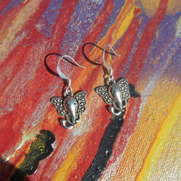 Silver Elephant Charm Wisdom Earrings