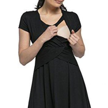 Happy Mama Womens Maternity Nursing 2in1 Skater Dress Short Sleeves 605p