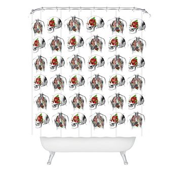 Iveta Abolina Skulls And Roses Shower Curtain