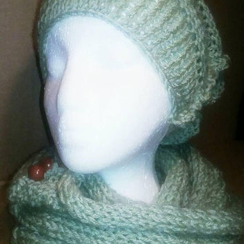 Knitted Hat and Infinity Scarf Set