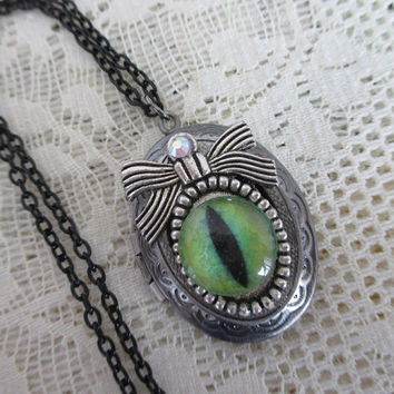 Game of Thrones Dragon Locket Necklace - Dragon eye & Bow  Necklace - Khaleesi Mother of Dragons