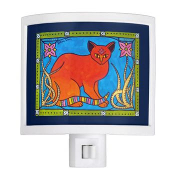 Indian Cat With Lilies Colorful Cat Design Night Light
