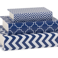 Patterned Storage Book Boxes - Set of 3