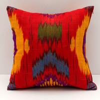 15x15 red green blue yellow cotton ikat pillow cushion cover, sofa pillow, square pillow, ikat,