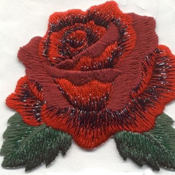 Red Rose Applique Iron or Sew On Patch Red Flower Rose by Cedar Creek Patch Shop on Etsy