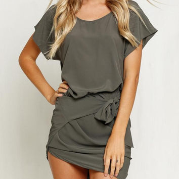 New Summer dress Sexy Woman O neck Irregular edge dress-0630