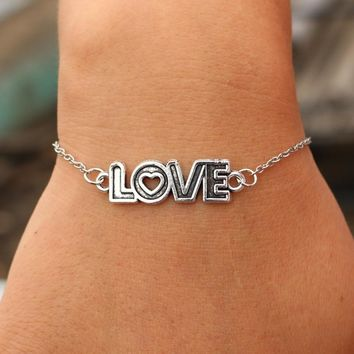 Charm Bracelets Women Retro Jewelry Link Chain Bracelet Bangle Cross Heart Handcuff Love Peace Eye Valentine's Day Gift