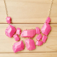 Hot Pink Statement Necklace,Atactic Gem Stack Necklace,Cute Bright Spring Summer Gift Necklace for Women