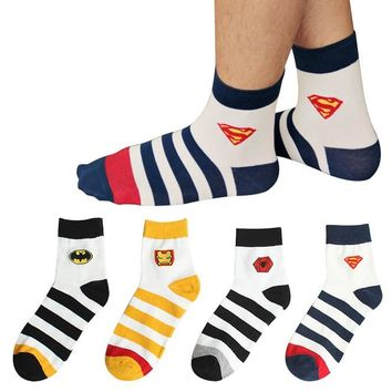 New 2015 high quality Men's Brand Harajuku Cotton Socks Male cartoon Spider Man Batman Superman Iron Man socks Stripe socks