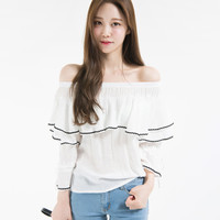 Contrast Trim Ruffled Off-Shoulder Blouse | mixxmix