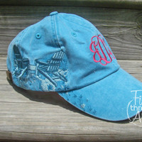 LADIES Adirondack Chair Beach Monogram Baseball Cap Hat Leather strap Mom Bridesmaid Bride Bachelorette Pigment Dyed