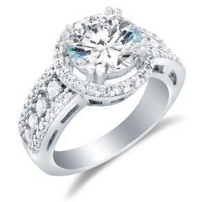 Solid 14k White Gold Large Wide Round Brilliant Cut Solitaire with Round and Princess Cut Side Stones Highest Quality CZ Cubic Zirconia Engagement Ring 3.5ct.