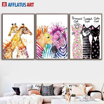 AFFLATUS Zebra Giraffe Cat Nordic Poster Wall Art Print Canvas Painting Watercolor Animals Wall Pictures For Living Room Decor