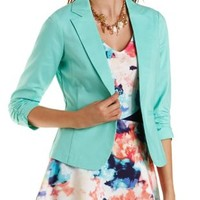 Green Three-Quarter Sleeve Ruched Blazer by Charlotte Russe