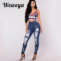Weweya Woman Embroidery Jeans Skinny Vintage Ripped Jeans Elastic Push Up Pencil Jeans Plus Size 3XL Denim Trousers Mujer