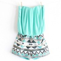 strapless aztec sequin romper | turquoise Day-First™