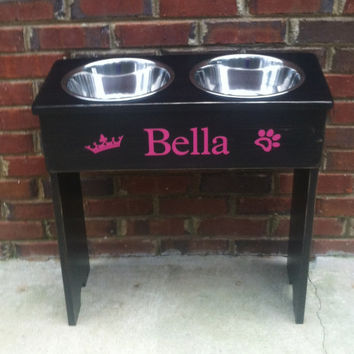 Crown and Paw Personalized Extra Large Raised Dog Bowl Shabby Stand -24'' Tall - 2 Three Quart Bowls