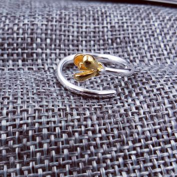 Gold Flower Shaped 925 Silver Ring