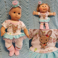 "15 inch Baby Doll Clothes ""Lil' Brown Bunny"" doll outfit Will fit Bitty Baby® Bitty Twins®  dress shorts socks headband P3"