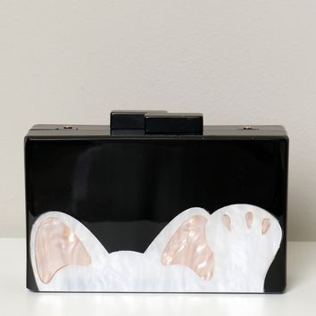 Cat Box Clutch Black