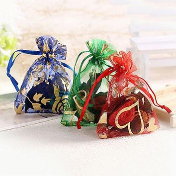 100pcs/lot Drawable Heart Flower Small Organza Bags Favor Wedding Christmas Gift Bag Jewelry Packaging Bags Pouches