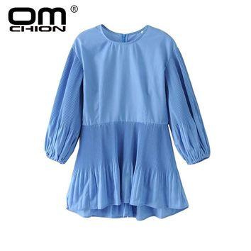 Spring Autumn Dresses Solid Long Sleeve Casual Short Dress O Neck Lantern Sleeve Women Dress
