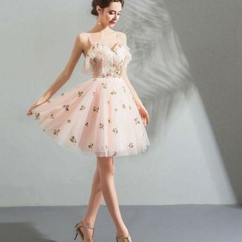 Short Prom Dresses Pink Sweet Girl Spaghetti Strap Sweetheart Sequined Embroidery Backless