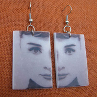 Audrey Hepburn Earrings Handmade fimo Polymer Clay by WorldSilver