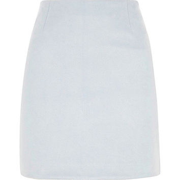 Light blue faux suede mini skirt