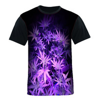 Purple Weed Shirt Black Sleeve