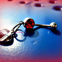 Red Football Belly Ring, Sports Belly Ring, Football Piercing, Athletic, Athlete, Navel, Belly Button, Fall