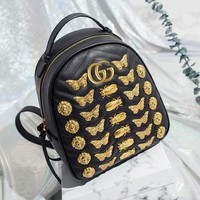 Gucci Fashion Women Metal GG Letter Logo Animal Studs Leather Zipper Backpack Daypack I12101-1