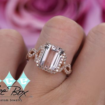 Morganite Ring - 8 x 10mm Emerald Cut Morganite in a 14K White Gold Diamond Halo Setting