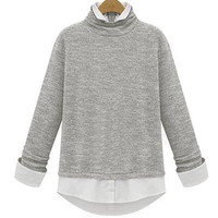 Light Grey Two in One Shirt Knitwear