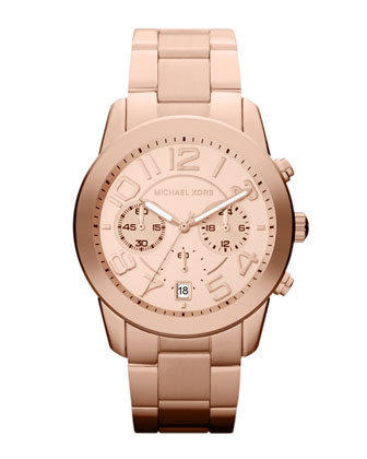 Michael Kors Mid-Size Rose Golden Stainless Steel Mercer Chronograph Watch - Michael Kors