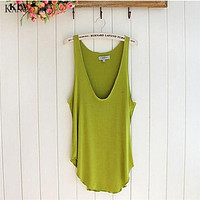 Stretchy v-neck cotton tank top ~ 5 colors!