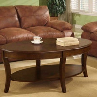 Walnut Coffee Table Oval Brown Shelf Wood Living Room Furniture Traditional New