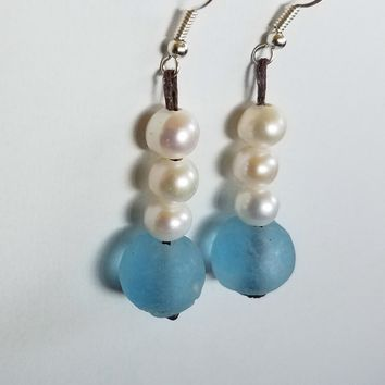 "The New ""OB"" Sea Glass and Pearl Earrings Seasidepearls30A"