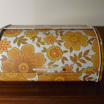 Vintage Retro 1960s Psychedelic Flower Power Metal Bread Bin Orange and Yellow / White / Floral Tin Bread Box / Kitchenalia