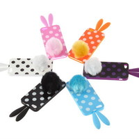 Bunny Rabito Rabbit Ears Tail Polka Dots Silicone Case Cover For Apple iPhone 5