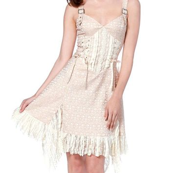 "Women's ""Steampunk Brocade"" Chiffon Dress by Jawbreaker (Cream)"