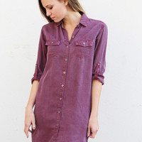 Chambray Burgundy Button Down Dress