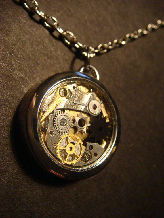 Steampunk Watch Case Necklace with Gears and Watch parts (549)