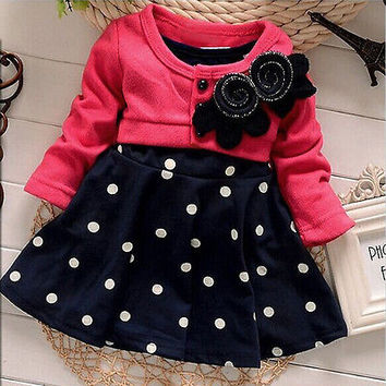 2015 Baby Girl Toddler Party Long Sleeve Polka Dot Princess Tutu Bow Dress WInter Autumn Clothing