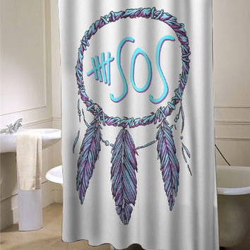 5 Second Of Summer dream catcher custom shower curtain for bathroom ideas