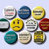 "EXISTENTIAL Existentialism Psychology Philosophy 10 Pinback 1"" Buttons Badges Pins"