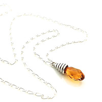 Gold Crystal Necklace, Topaz, Orange, Small Pendant, Fall Jewelry, Sterling Silver, November Birthstone