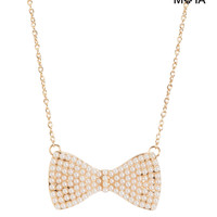 Aeropostale  Womens Pearl Bow Short-Strand Necklace
