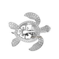 SOLID 925 SILVER HAWAIIAN HIBISCUS FLOWER TURTLE SLIDE PENDANT CZ RHODIUM